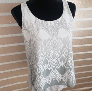 Small NWT Express AZTEC Sequin Silver Ombre Tank